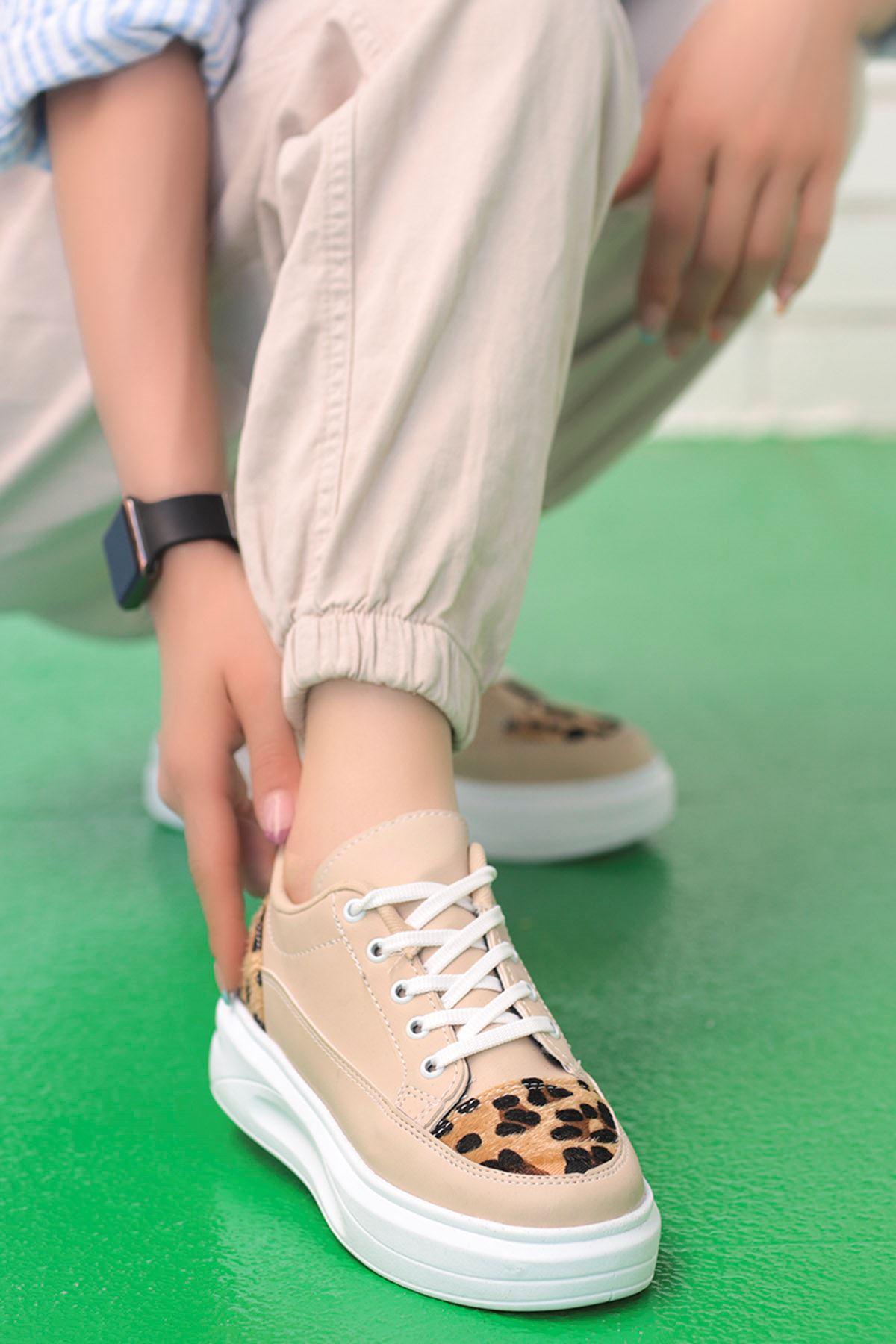 Clara Tabanlı Spor Ayakkabı Krem Leopar Desen Detay
