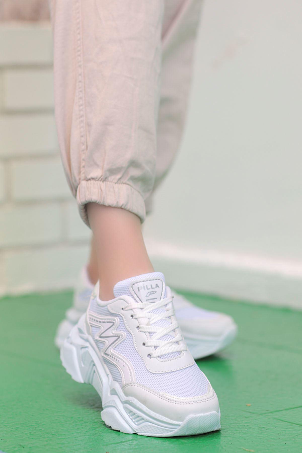 Macro Çizgi Detay Spor Ayakkabı Ful Beyaz
