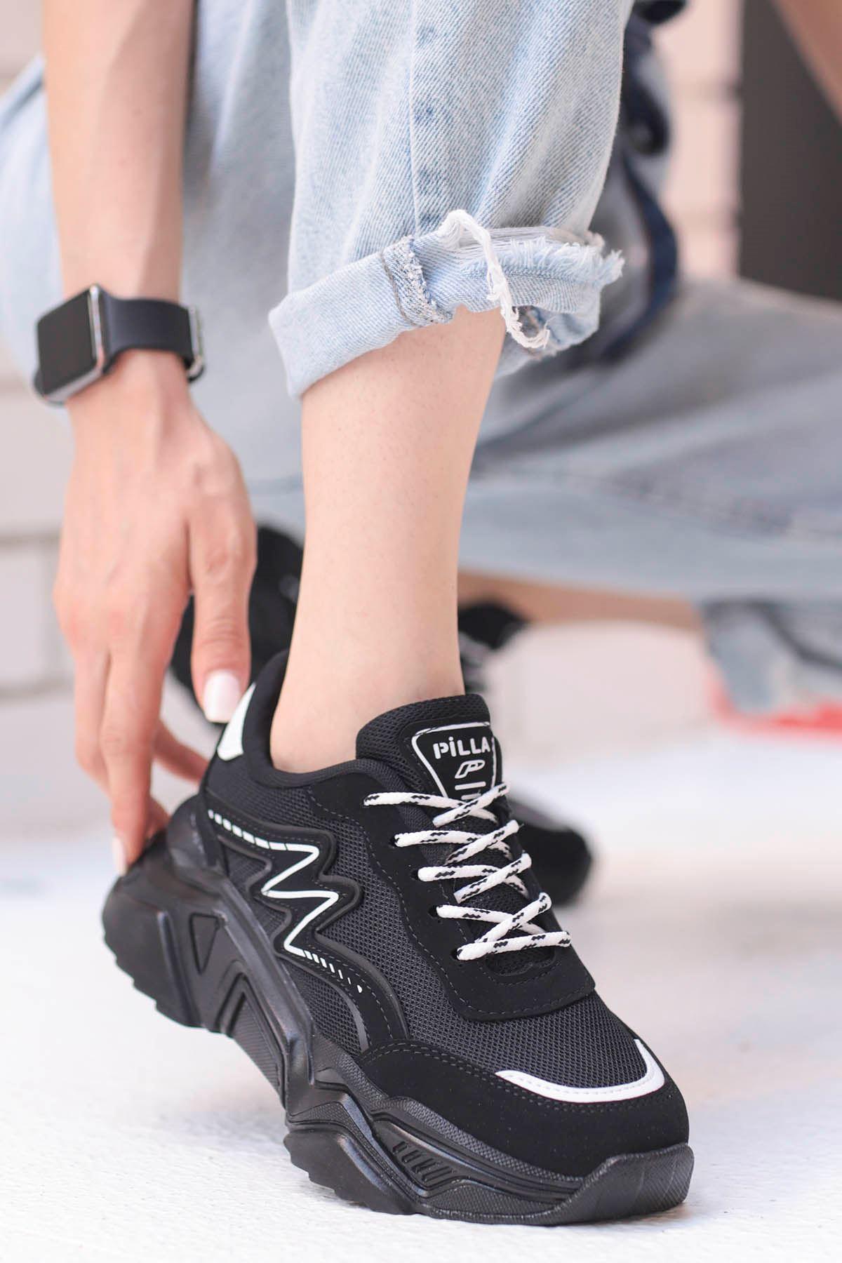Macro Çizgi Detay Spor Ayakkabı Ful Siyah