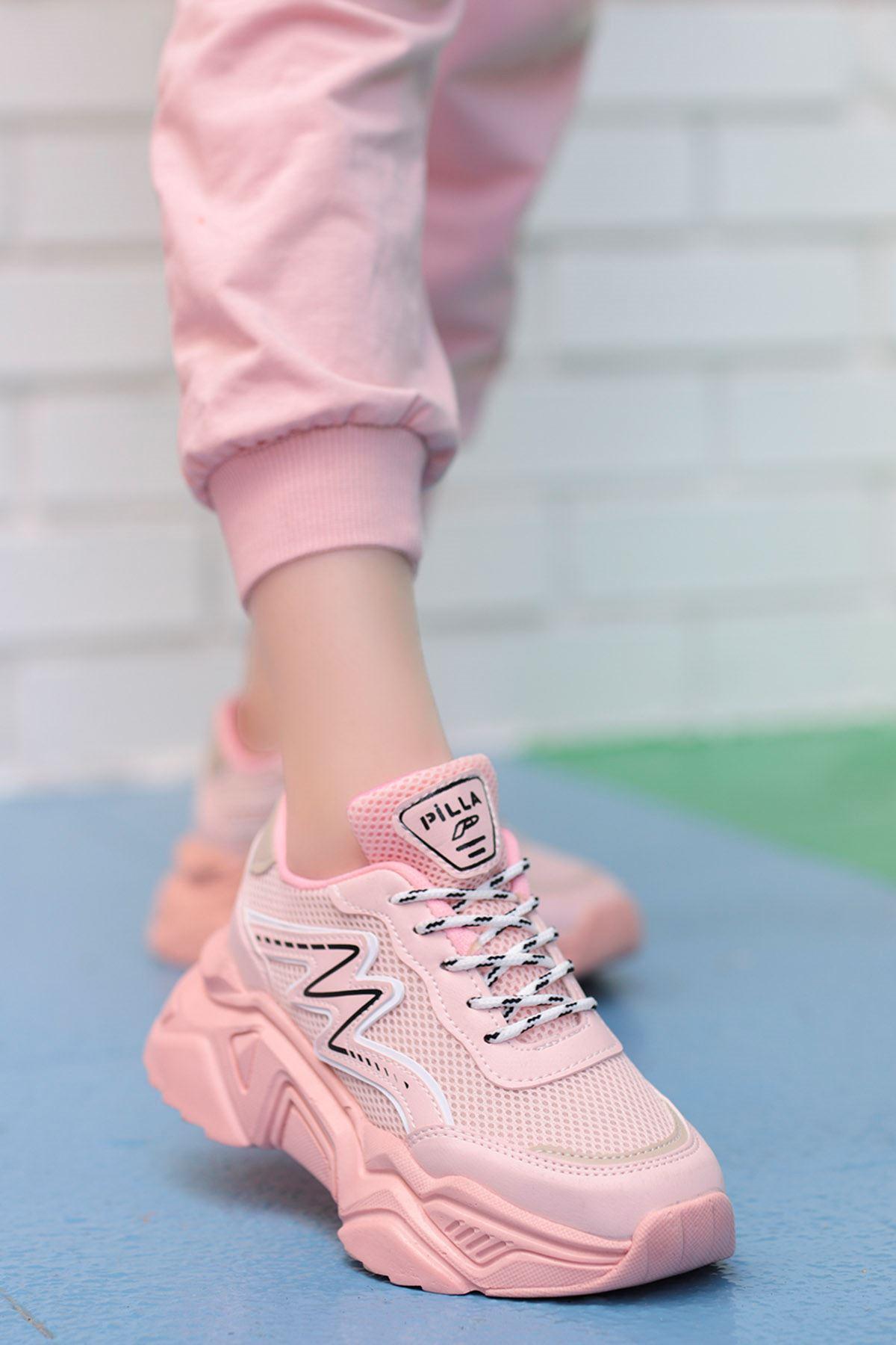 Macro Çizgi Detay Spor Ayakkabı Ful Pudra