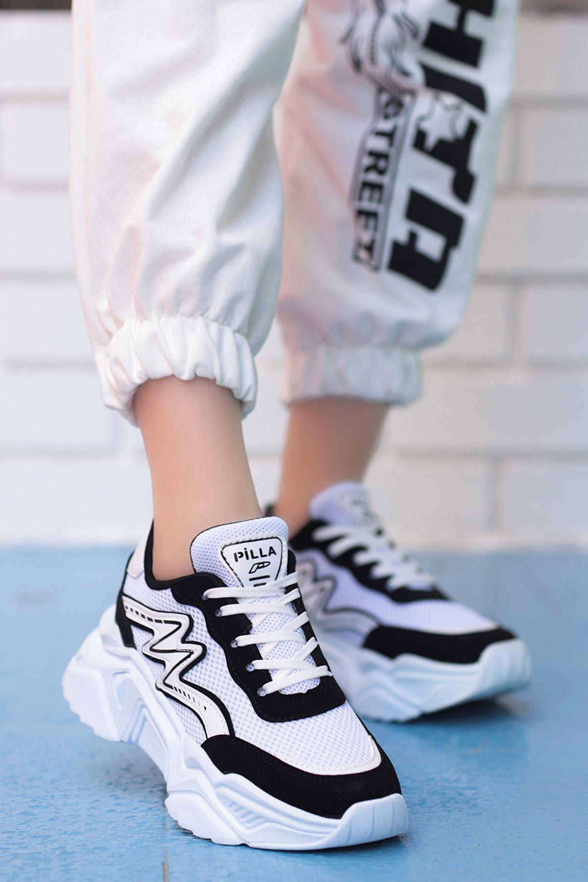 Macro Çizgi Detay Spor Ayakkabı Siyah Beyaz Detay