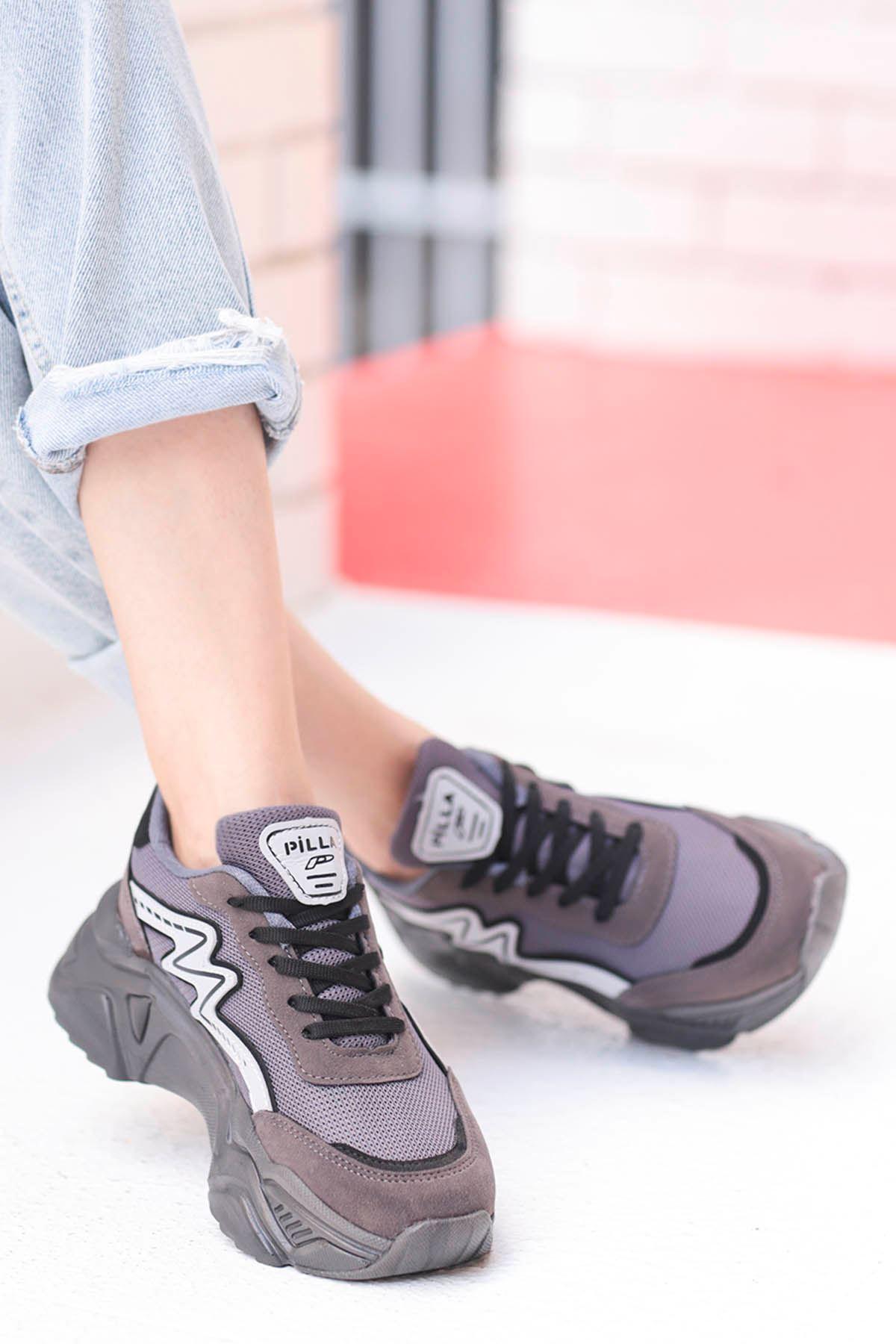 Macro Çizgi Detay Spor Ayakkabı Füme
