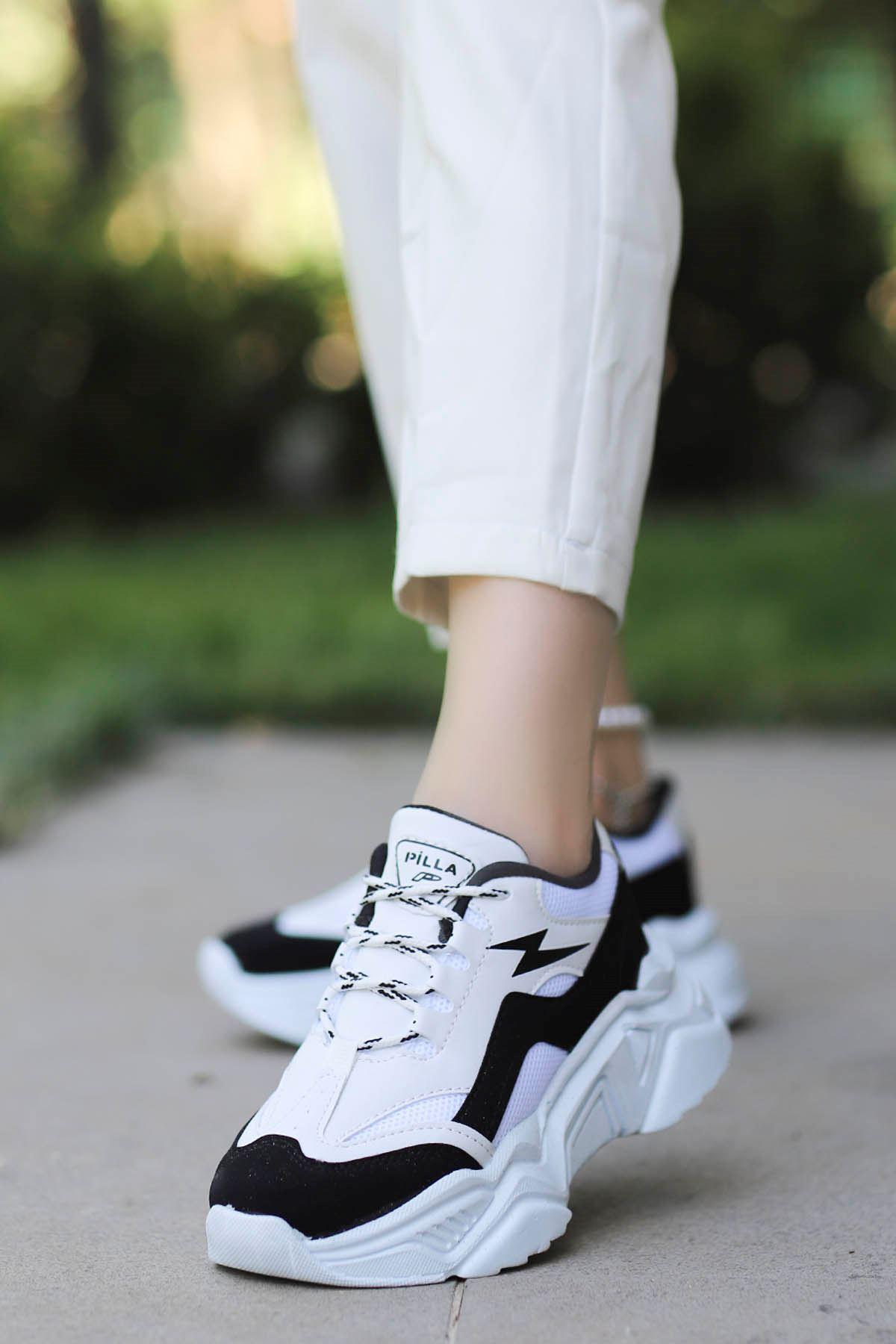 Rosse-Spor Ayakkabı Beyaz Siyah Detay