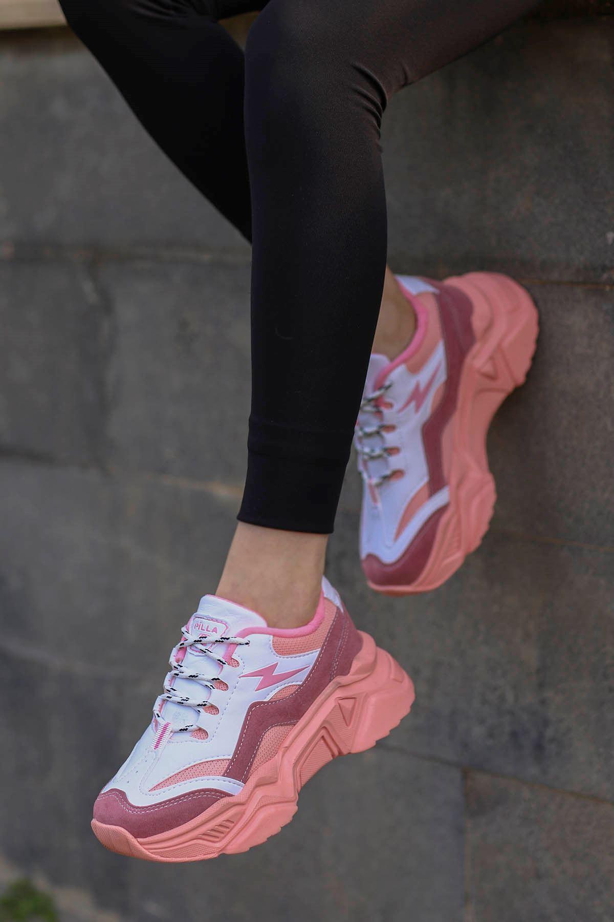 Rosse-Spor Ayakkabı Pudra-Beyaz Detay