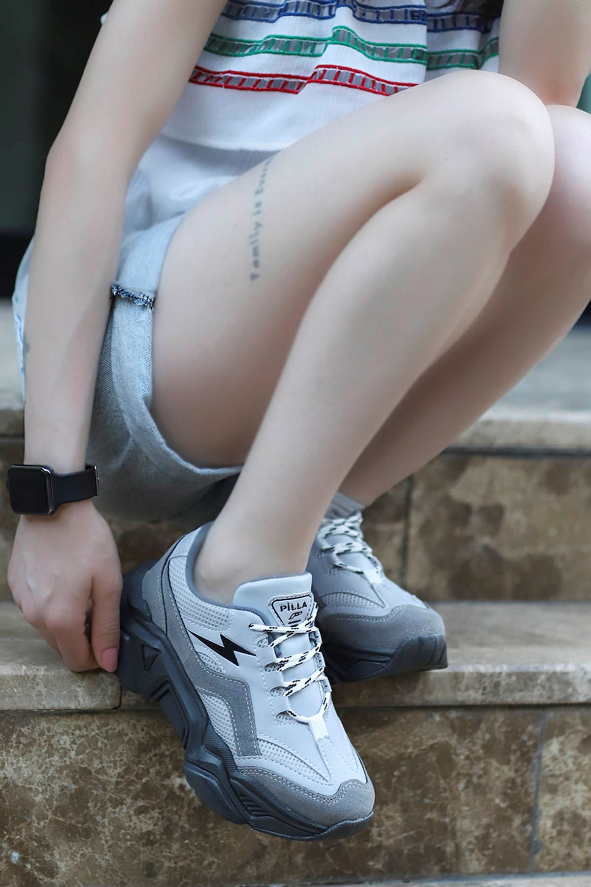 Rosse-Spor Ayakkabı Gri Deri