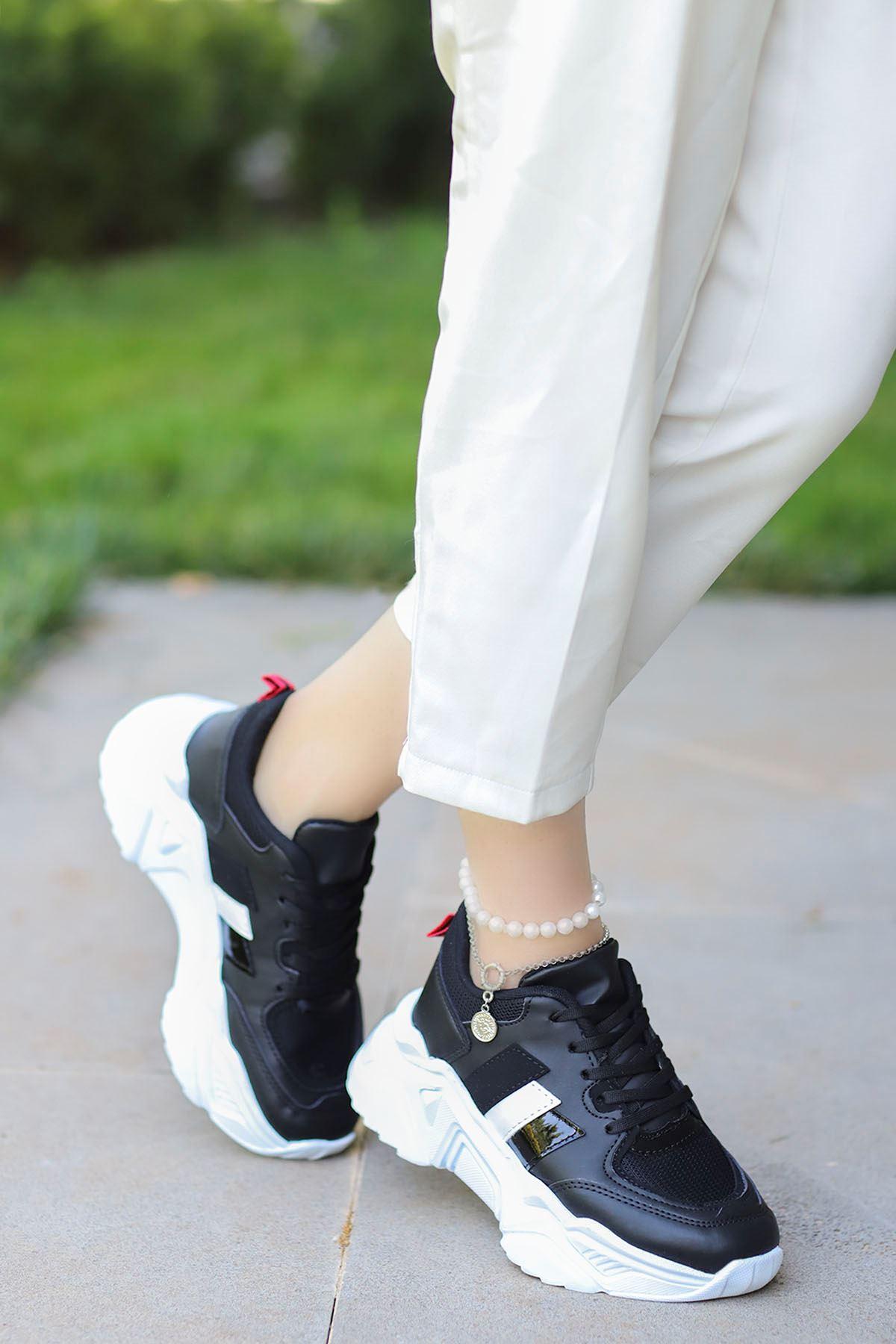 Dali Spor Ayakkabı Siyah Beyaz Taban