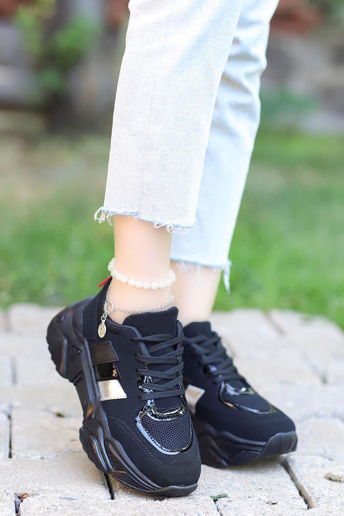 Dali Spor Ayakkabı Siyah Siyah Taban