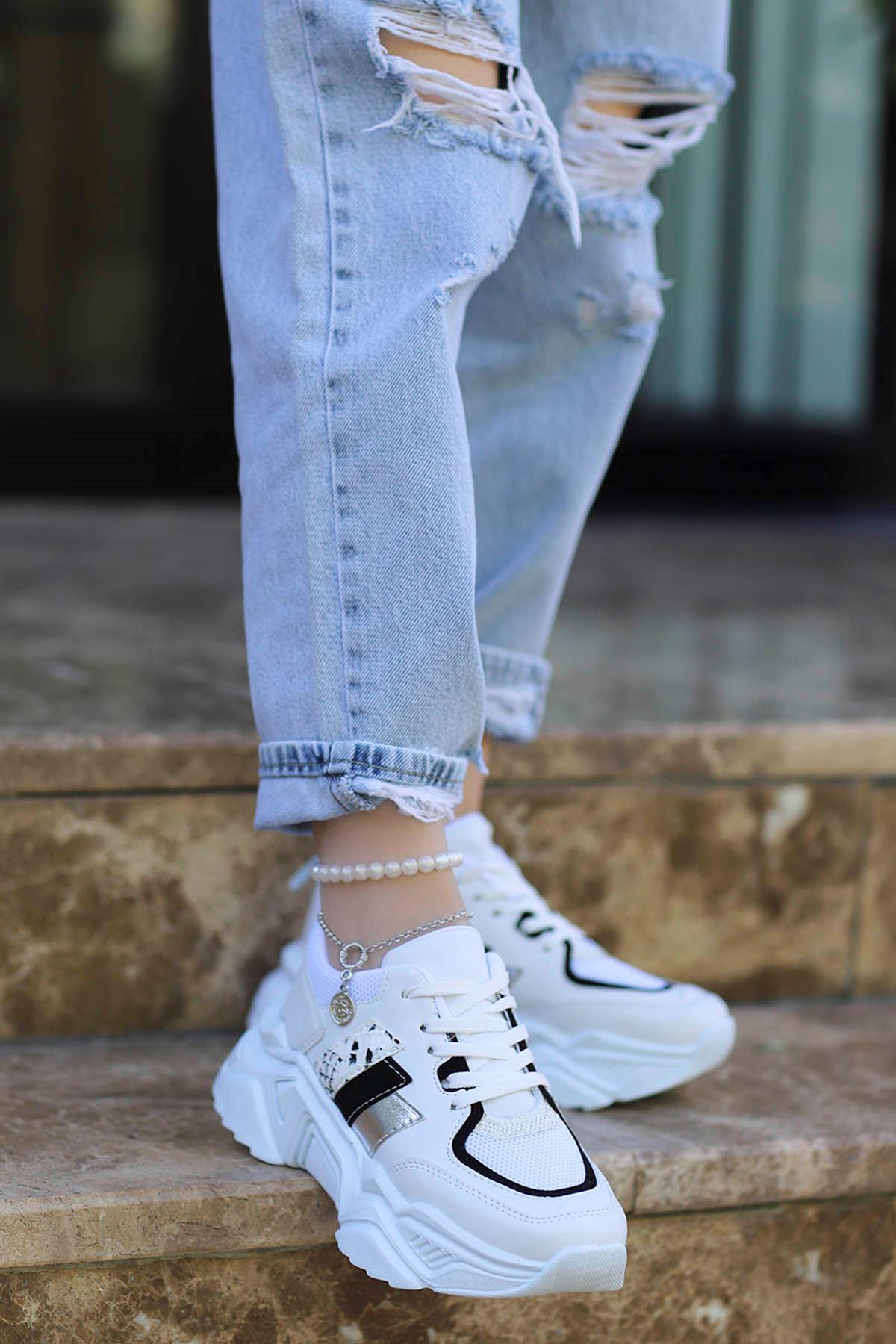Dali Spor Ayakkabı Beyaz Siyah Detay