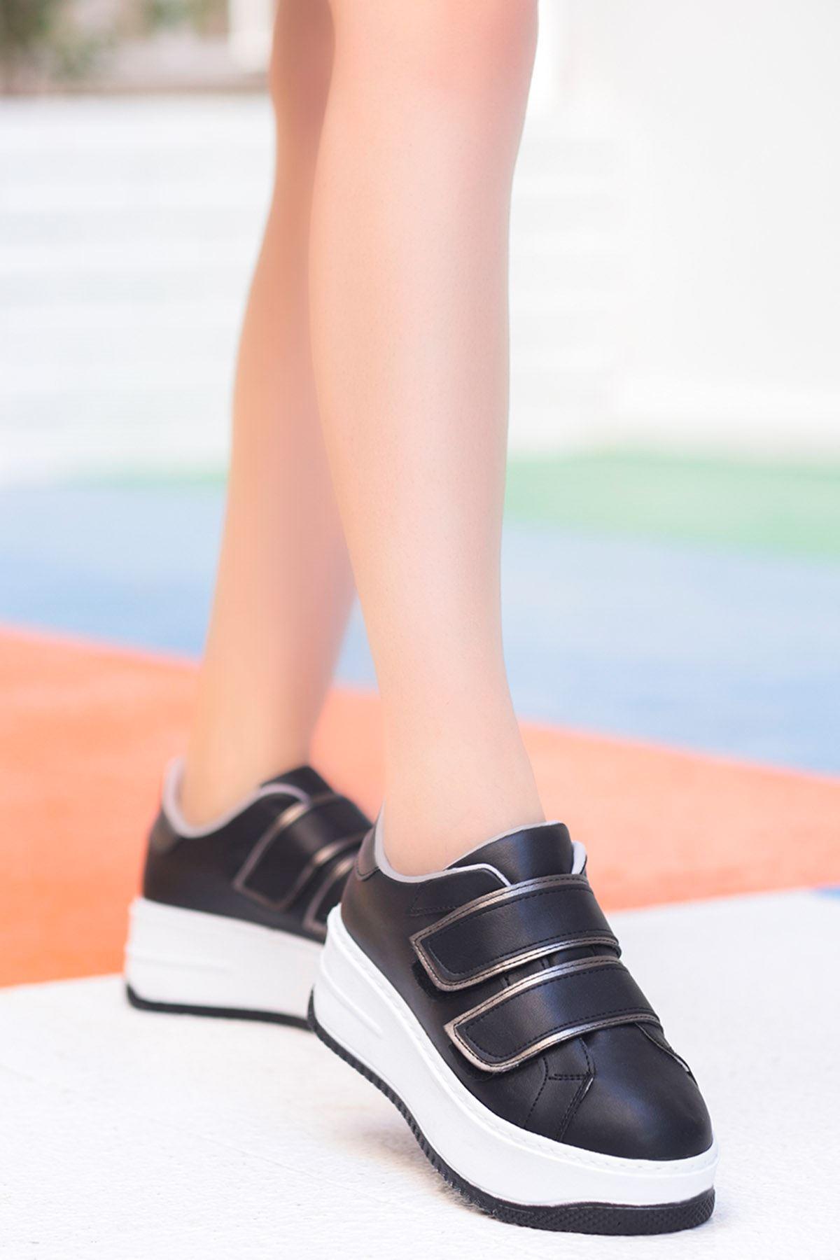 Mahaza Kalın Topuk Cırtlı Detay Spor Ayakkabı Siyah