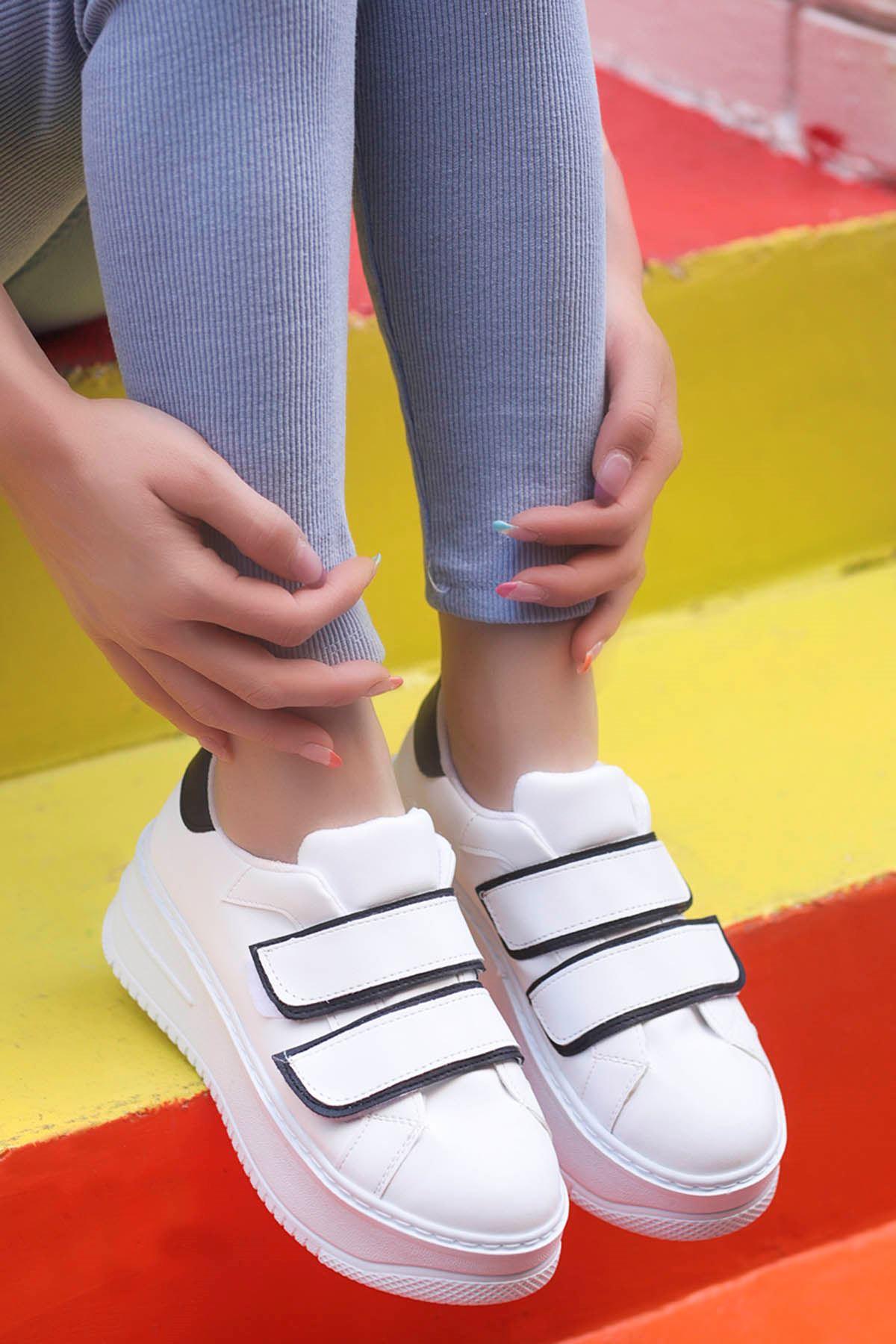 Mahaza Kalın Topuk Cırtlı Detay Spor Ayakkabı Beyaz Siyah Detay