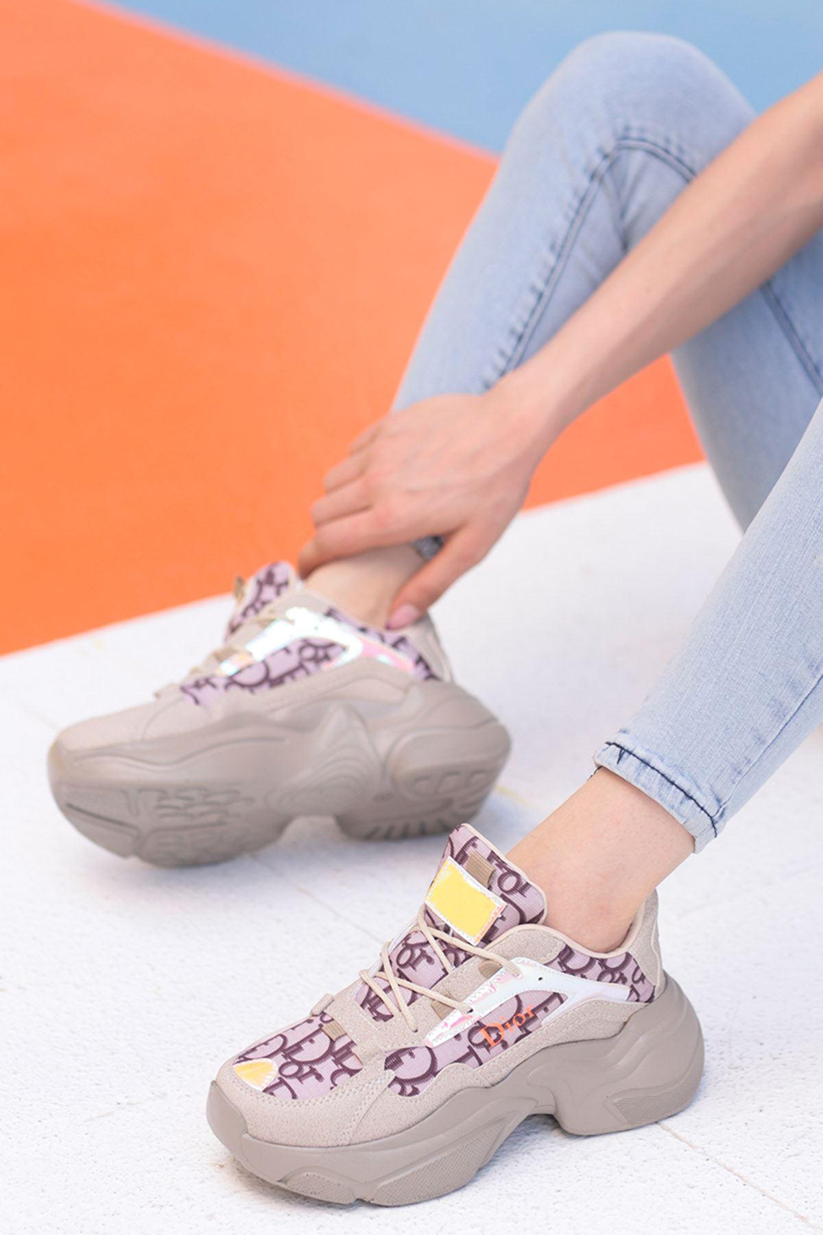 Sidney Tabanlı Spor Ayakkabı Bej Desenli
