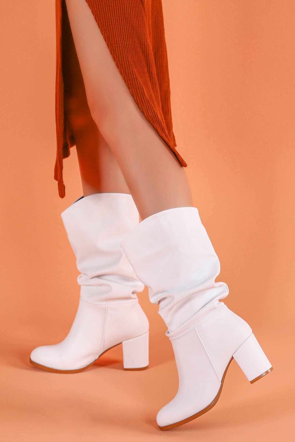 Drake Beyaz Deri Çizme