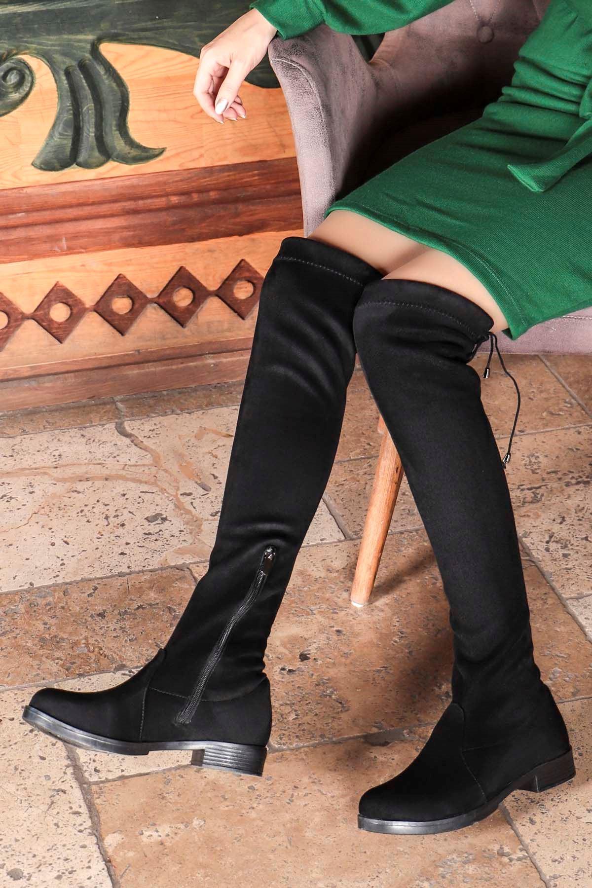 Leroy Siyah Süet Çorap Çizme